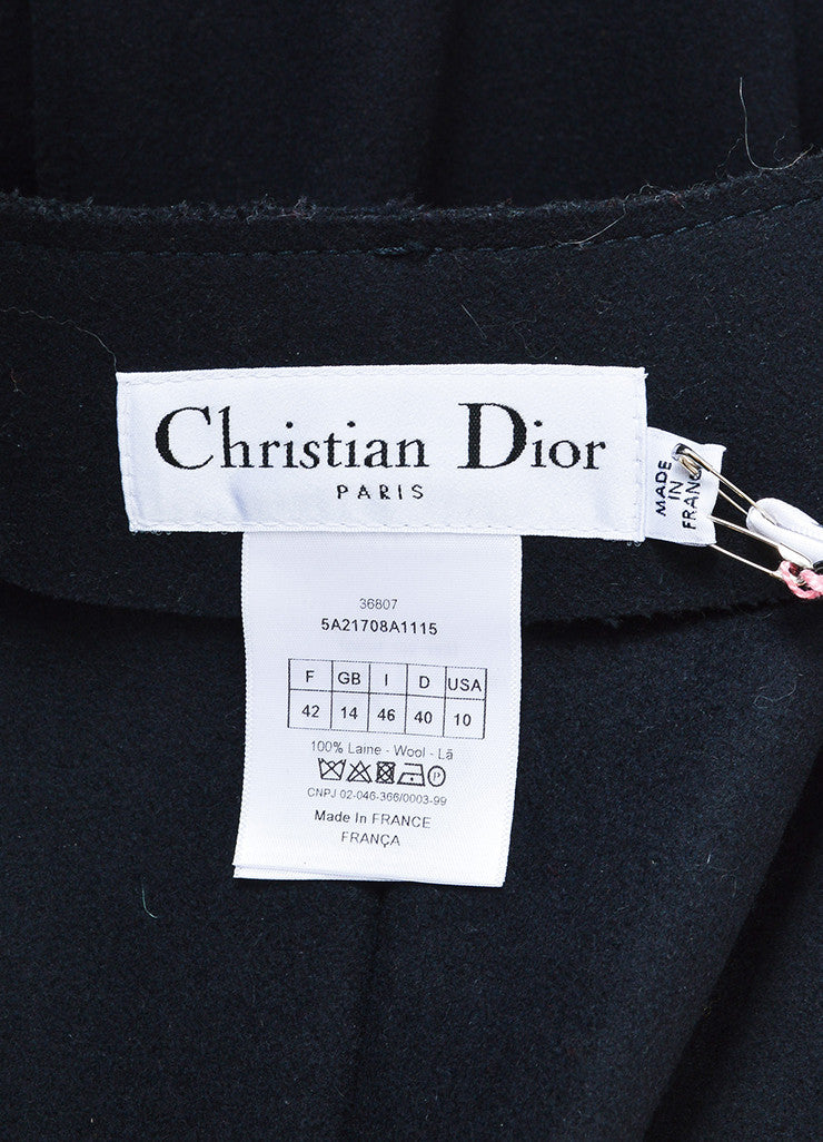Christian Dior Navy Wool Exposed Seam Double Breasted Coat Brand