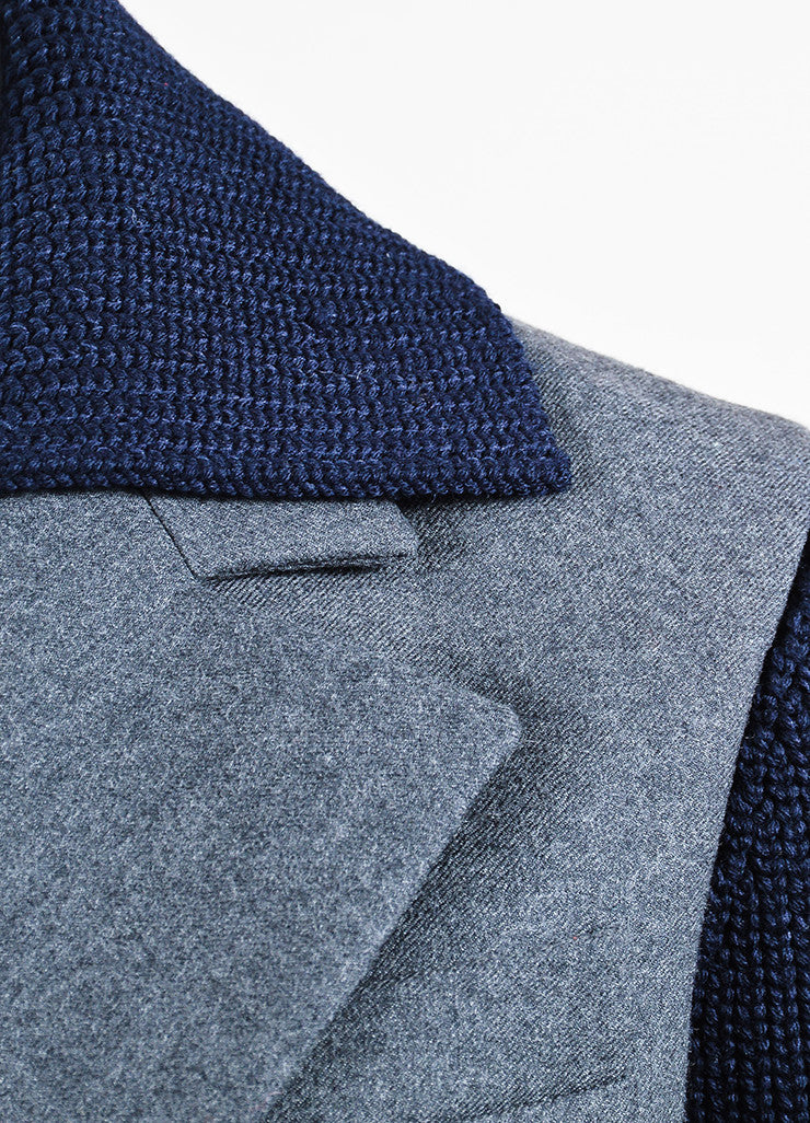 Grey Navy Christian Dior Chunky Knit Sleeves Peacoat Detail