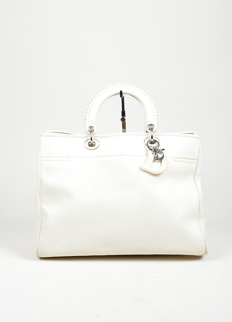 "White Christian Dior Leather Dior Charm ""Diorissimo"" Tote Bag Frontview"