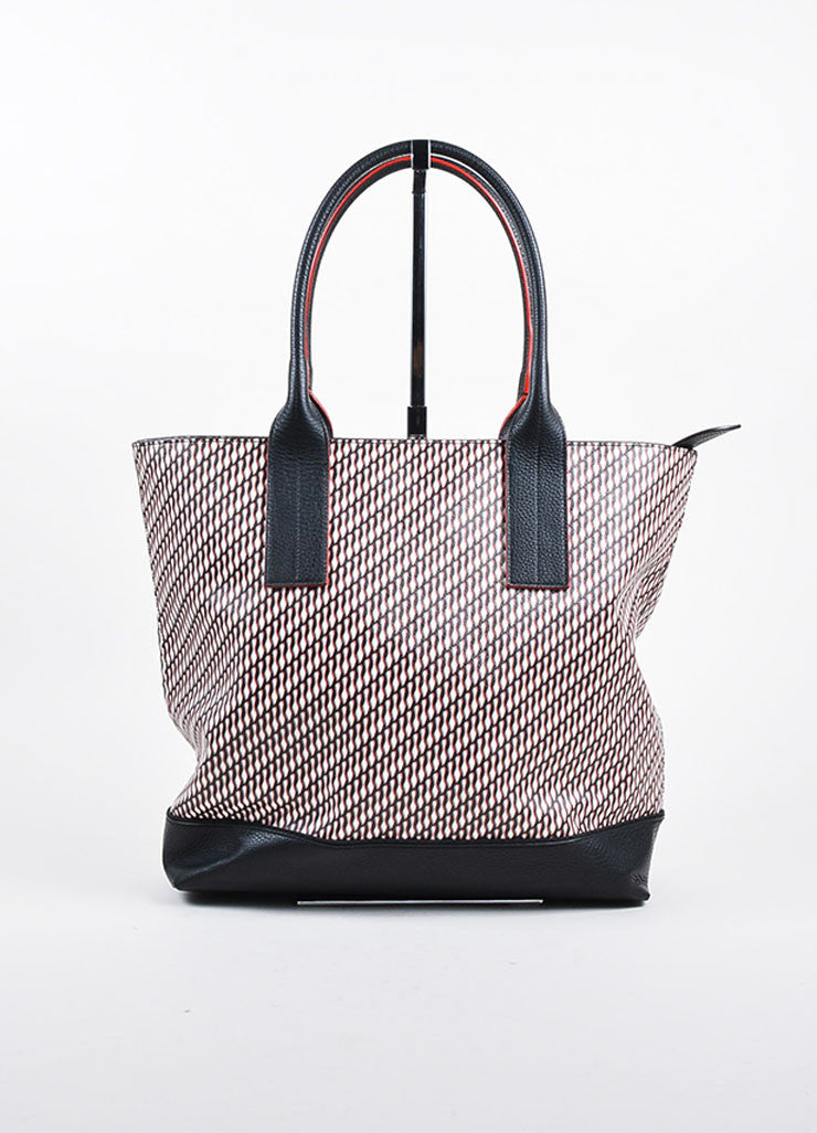 "Black Red Christian Louboutin Shoe Print ""Fredo"" Tote Front"
