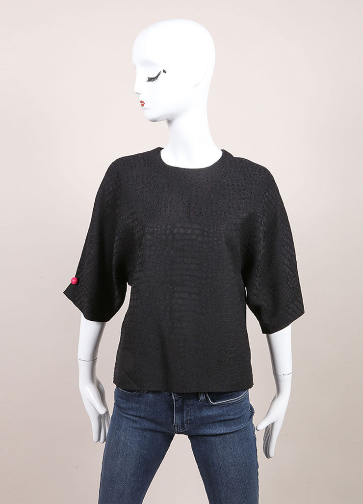 Christopher Kane New With Tags Black and Pink Cut Out Short Sleeve Boxy Cropped Top Frontview