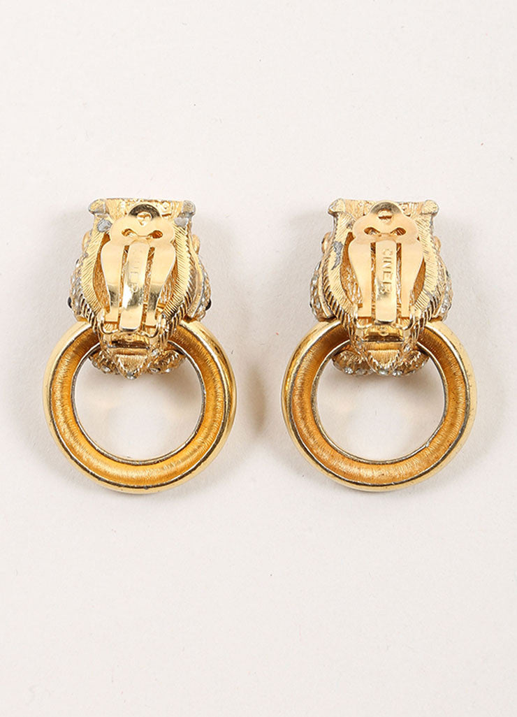 Ciner Gold Toned Rhinestone Embellished Panther Door Knocker Earrings Bacview