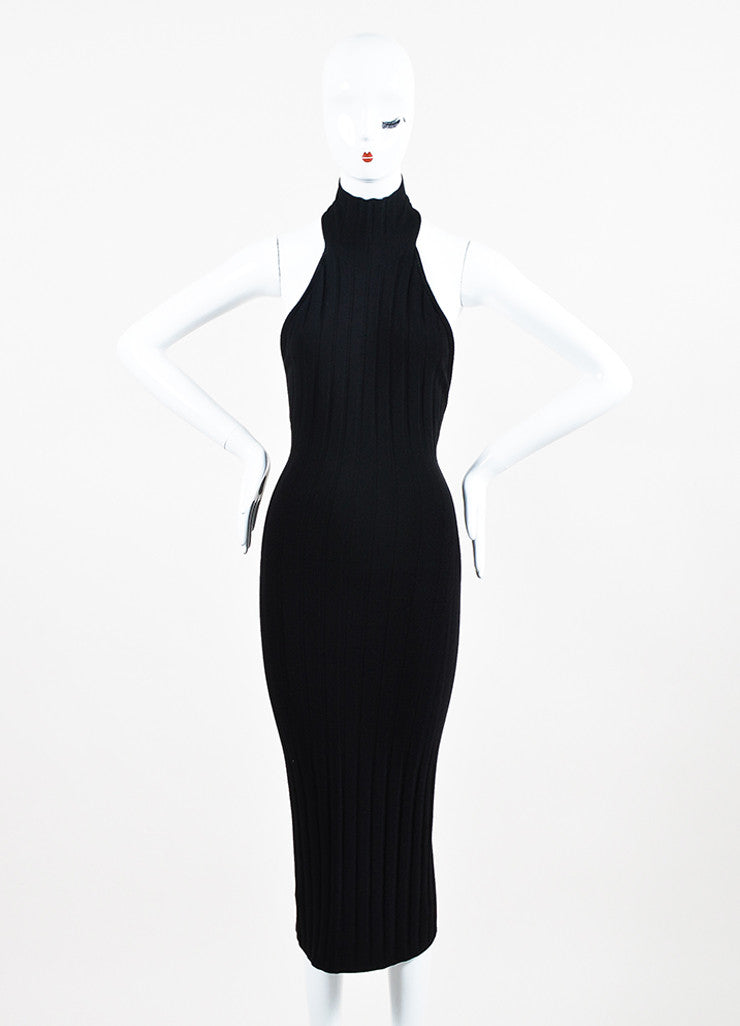Cushnie et Ochs Black Textured Knit Turtleneck Halter Dress Frontview