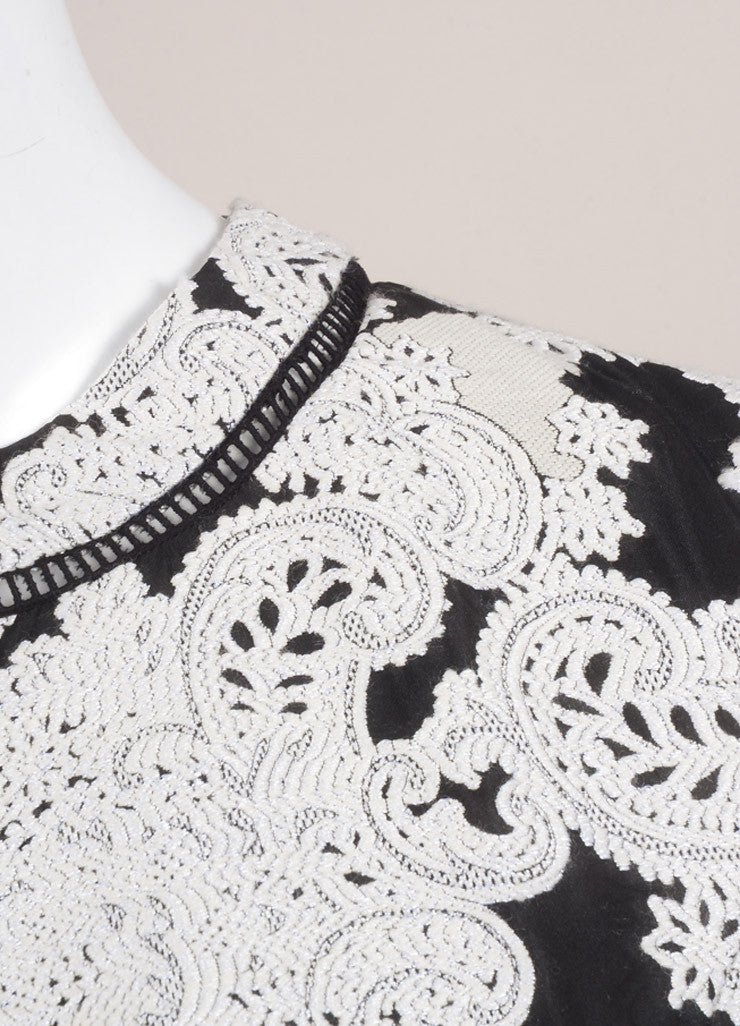Derek Lam New With Tags White and Black Wool Blend Embroidered Paisley Short Sleeve Dress Detail