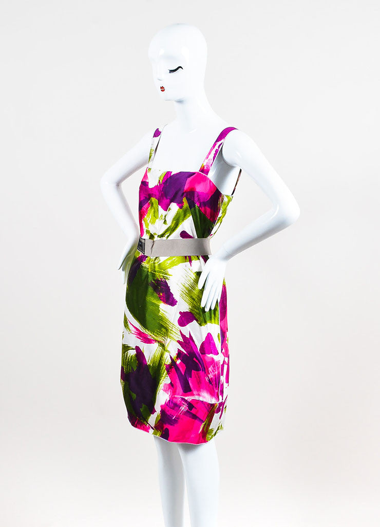 Dolce & Gabbana White, Pink, and Green Abstract Print Belted Dress Sideview