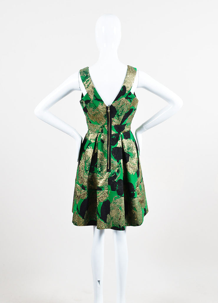 "Green, Black, and Gold Erdem Sleeveless Pleated ""Fabienne"" Dress Backview"