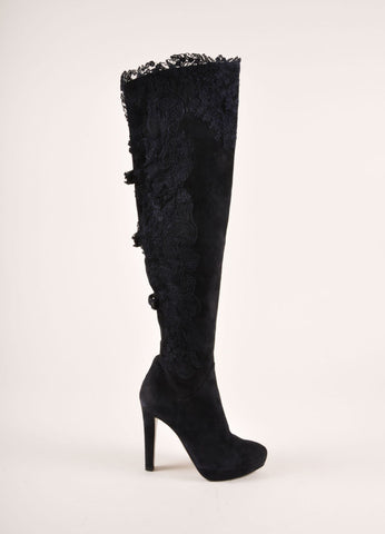 Ermanno Scervino Navy Suede Leather and Lace Over the Kneed Boots Sideview