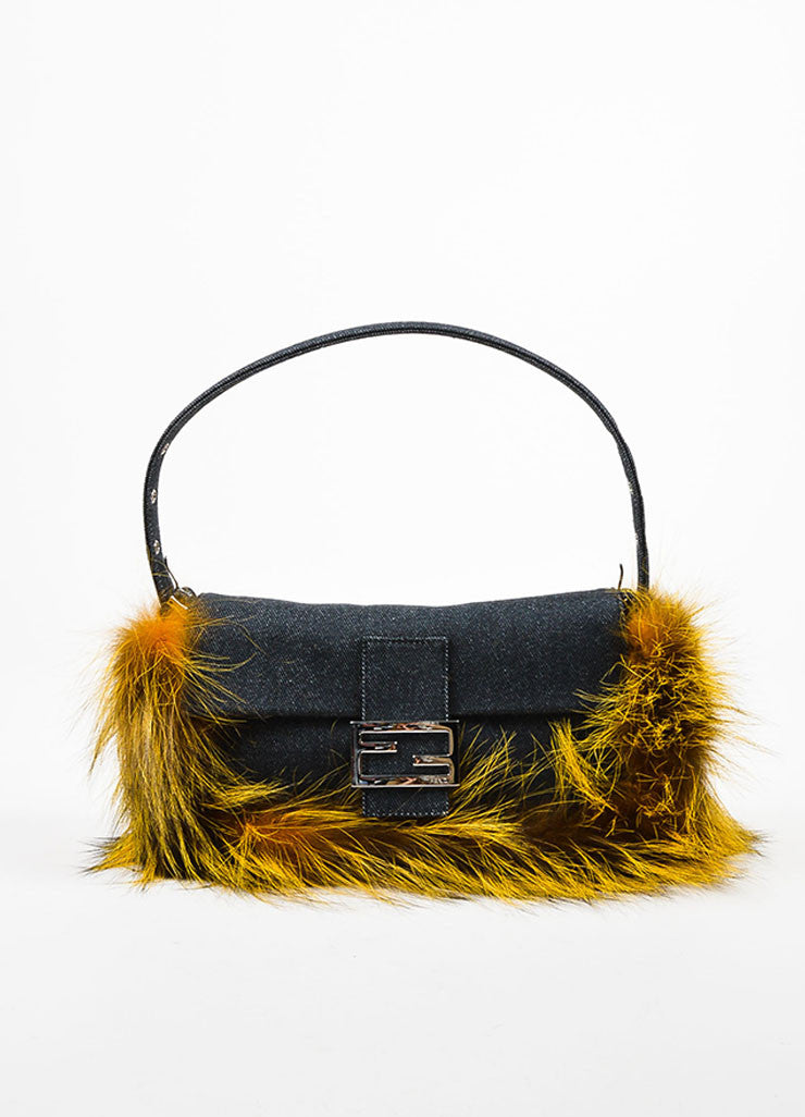 "Fendi Indigo and Yellow Denim Fox Fur Trim ""Be Baguette"" Shoulder Bag Frontview"