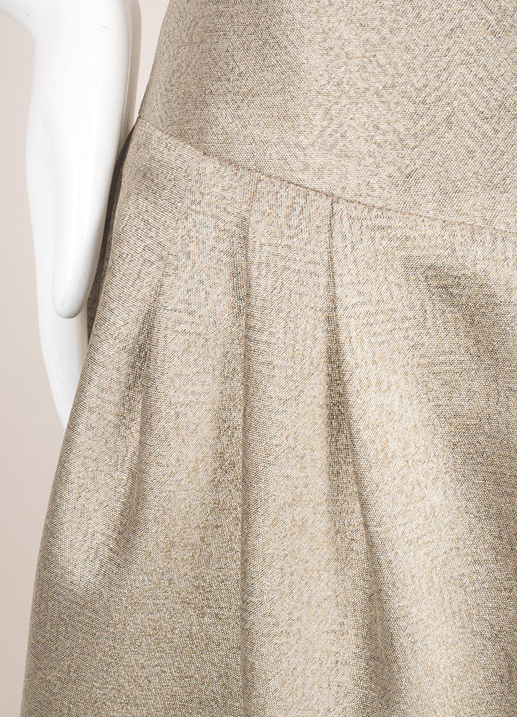 Giorgio Armani Gray Beige Metallic Structured Voluminous Pleated Skirt Detail