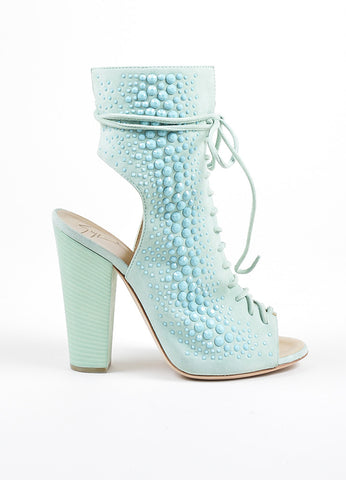 Mint Green Giuseppe Zanotti Lace Up Peep Toe Block Heel Boots Side