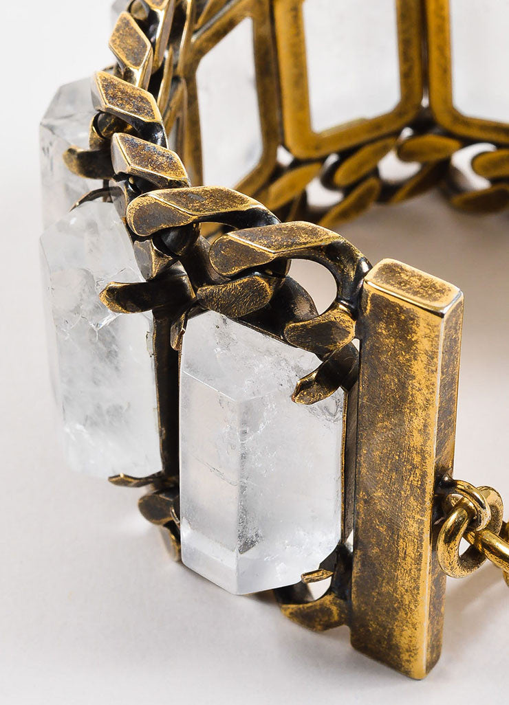 Givenchy Brass Toned Rock Crystal Chunky Curb Chain Link Wide Bracelet Detail