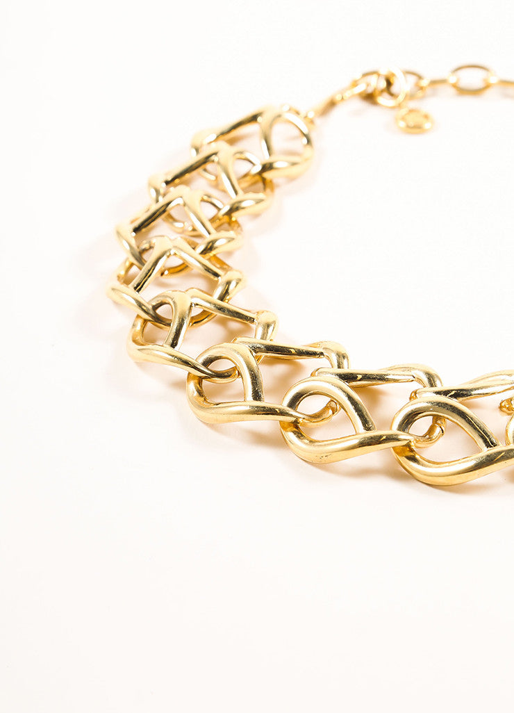 Givenchy Gold Toned Looped Chain Link Short Necklace Detail