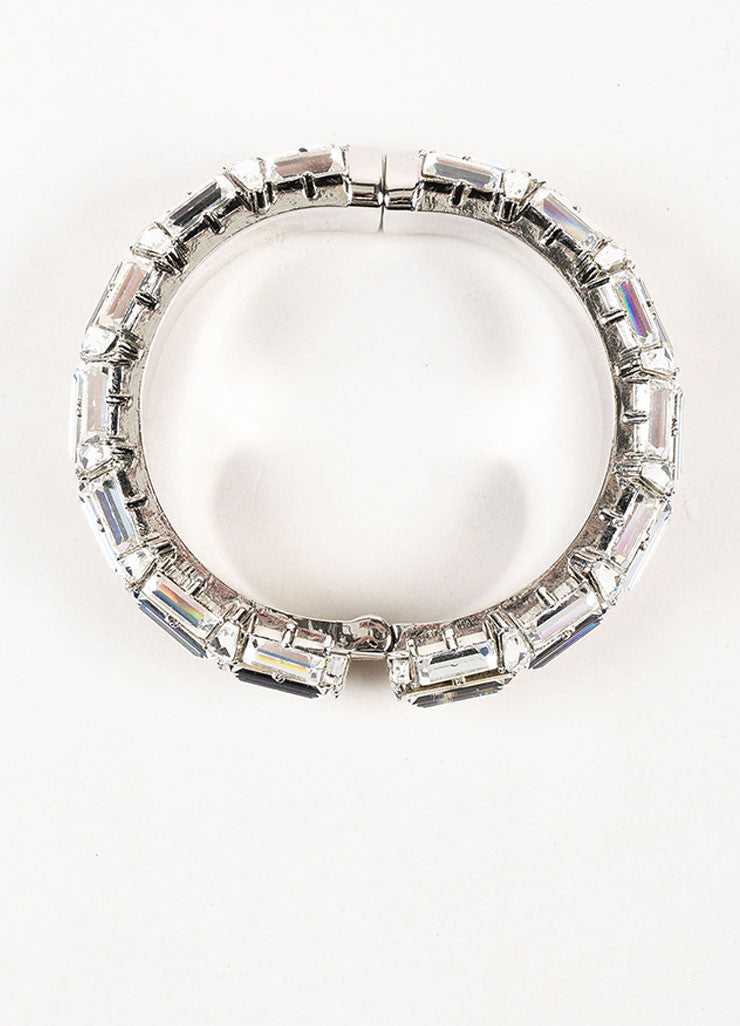 Gucci Silver Plated Swarovski Crystal Hinged Statement Bangle Bracelet Topview