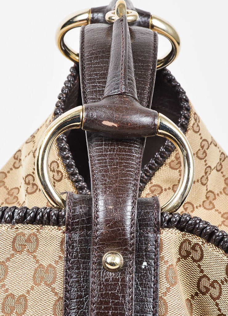 Gucci Brown Monogram Canvas Large Horsebit Hobo Bag Detail 2