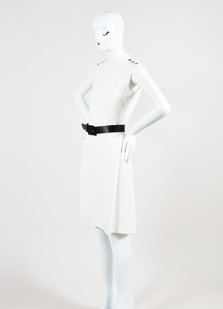 Gucci Cream Mockneck Belted Sleeveless Sheath Dress Sideview