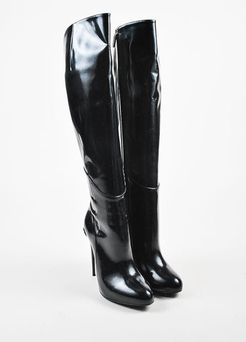 Gucci Black Patent Leather Over The Knee Heeled Boots Frontview