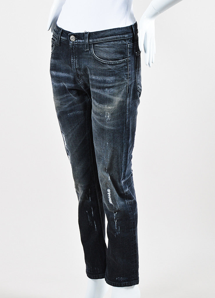 Gucci Dark Grey Denim Faded Distressed Straight Leg Regular Jeans Sideview