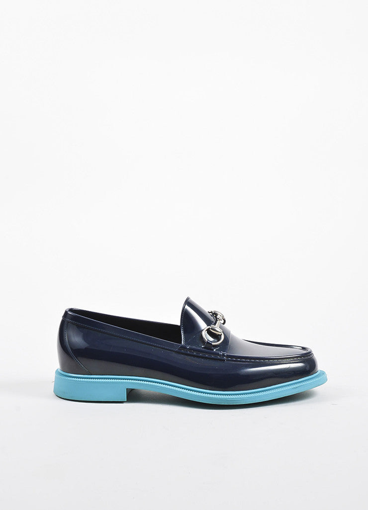 Navy and Teal Two Tone Gucci Horsebit Rubber Loafers Sideview