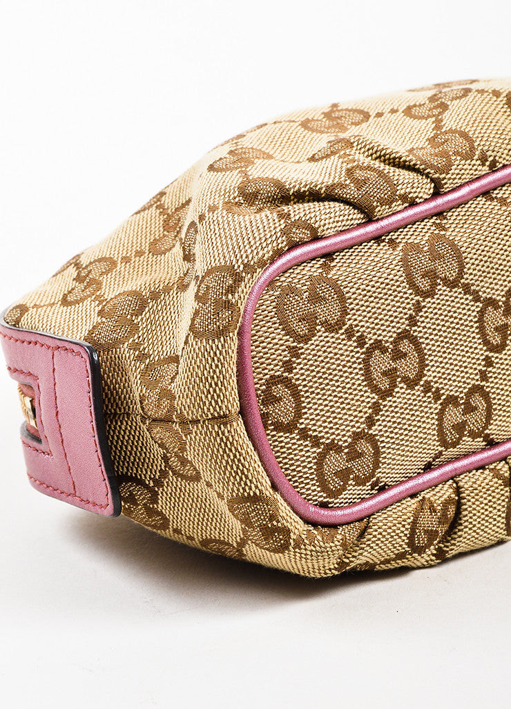 Gucci Tan, Brown, and Pink Canvas 'GG' Metallic Bow Heart Charm Zip Pouch Detail