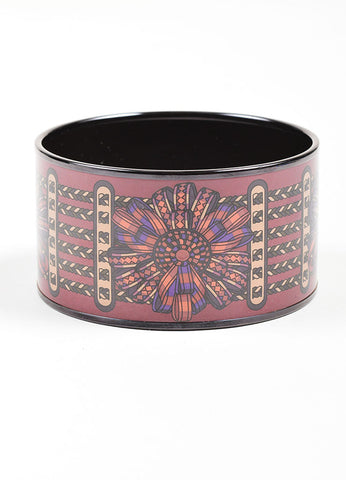 Black and Purple Hermes Enamel Printed Ribbon Extra Wide Bangle Bracelet Frontview