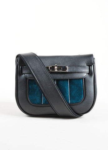 "Hermes RARE Black Teal Calfskin Suede Leather ""Mini Berline"" Bag Front"