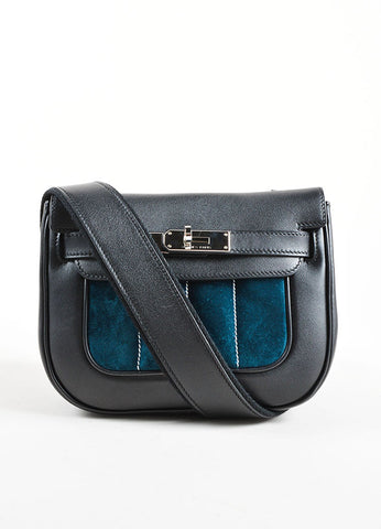"Hermes Black and Teal Calfskin and Suede Leather Quilted ""Mini Berline"" Shoulder Bag Frontview"