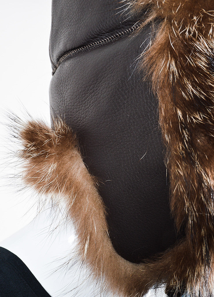 Brown Hermes Leather and Raccoon Fur Trapper Hat Detail