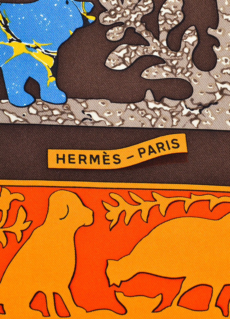 "Hermes Brown and Multicolor Silk Twill Graphic Printed ""Early America"" Scarf Brand"