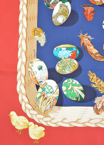 "Hermes Red, Navy and Multicolor Silk Twill Egg Print ""Couvee d'Hermes"" Scarf Detail"