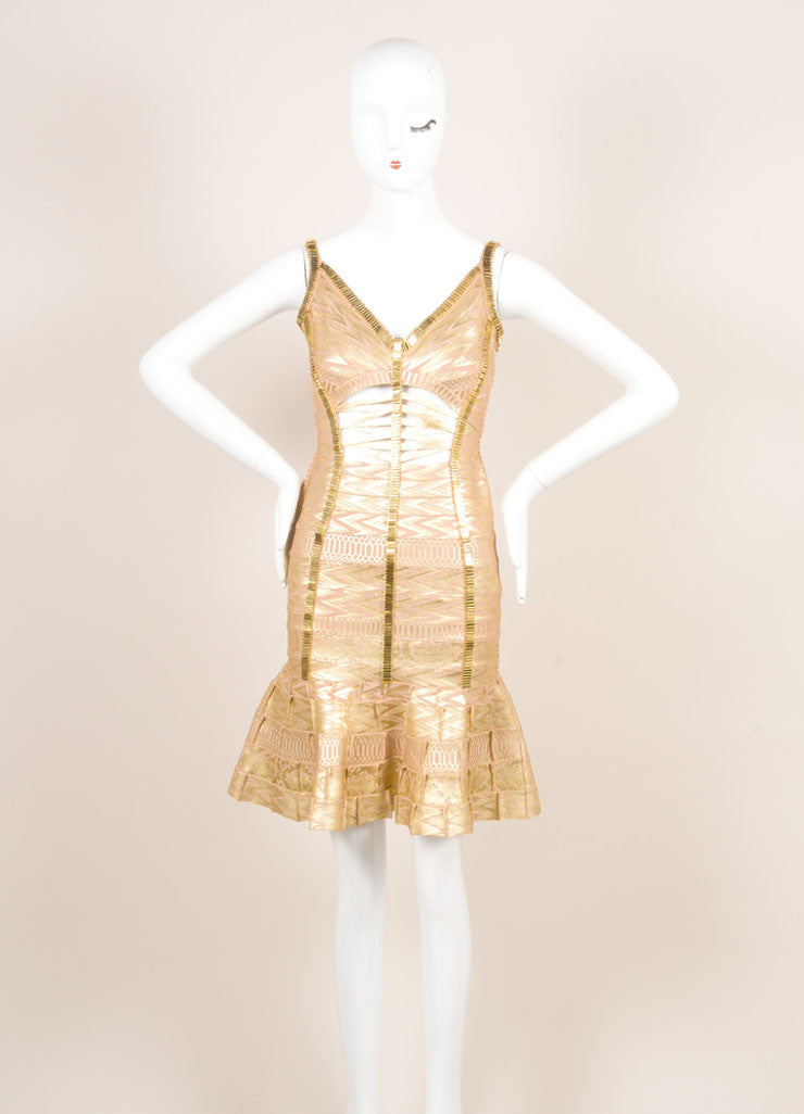 Herve Leger Gold Metallic Printed Beaded Cut Out Bodycon Dress Frontview
