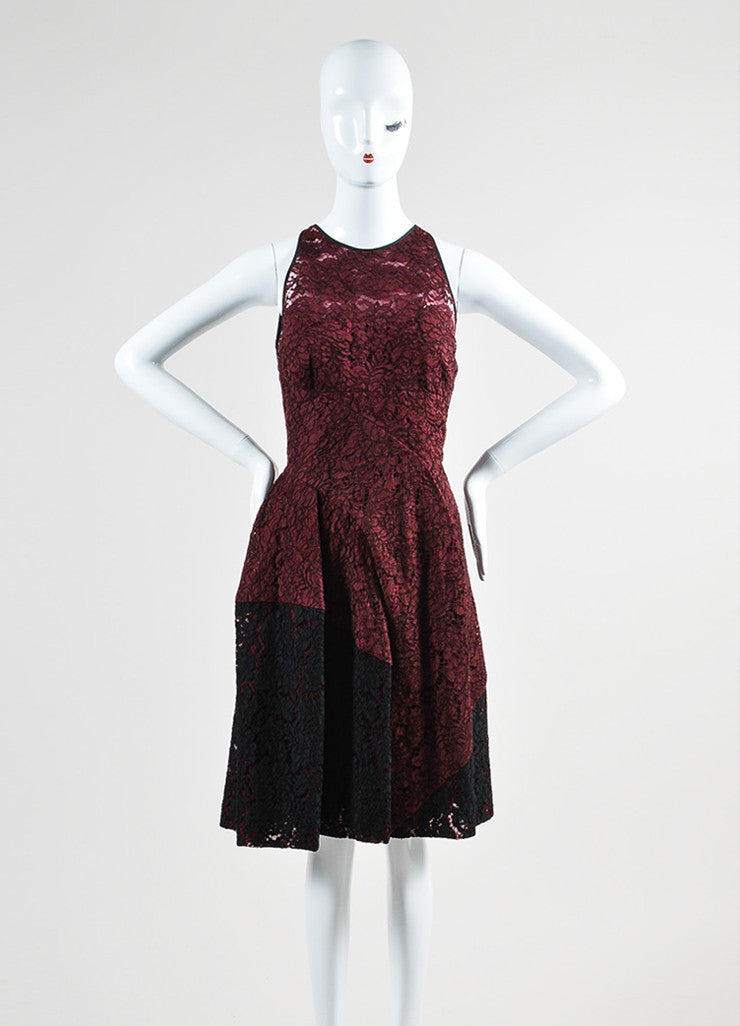 Maroon J. Mendel Lace Pleated Sleeveless Skater Dress Front