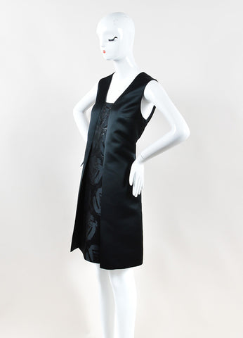 Jil Sander Navy Black Sleeveless Metallic Knit A-Line Dress Sideview