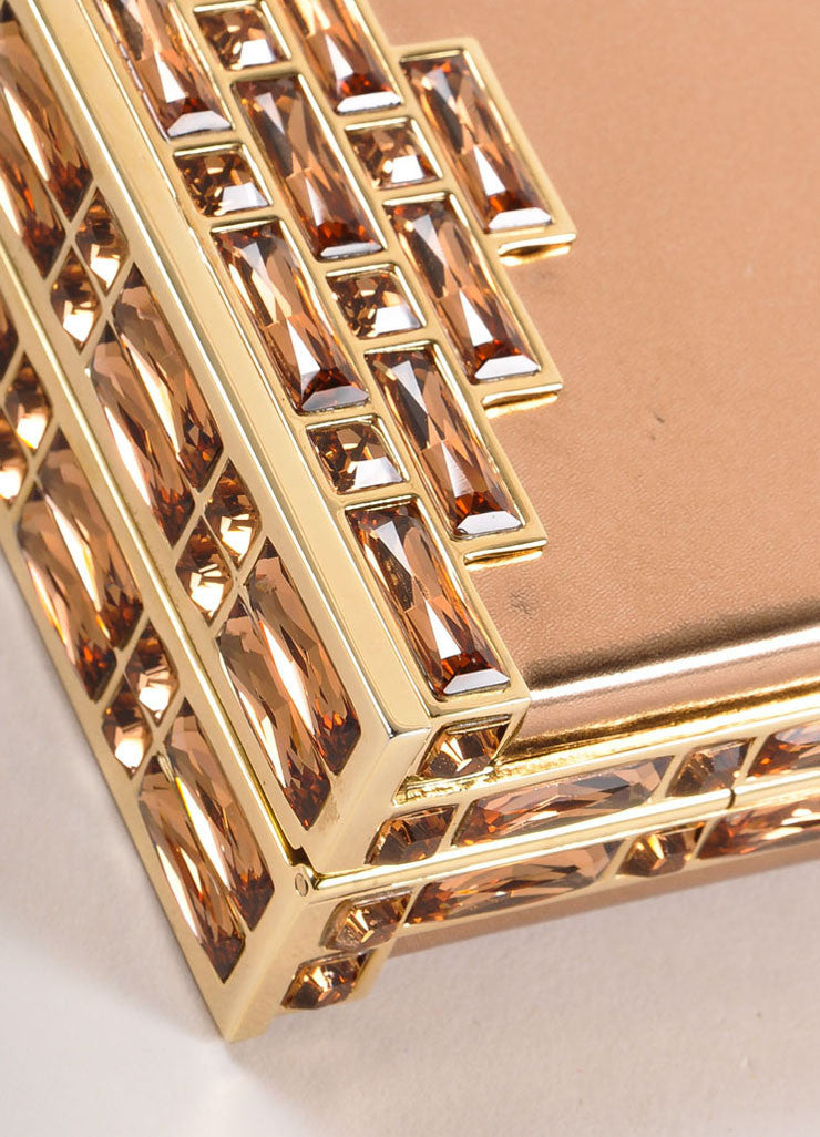 Judith Leiber Rose Gold Jewel Trim Rectangular Clutch Bag Detail 3