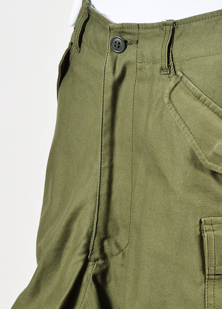 Junya Watanabe Comme des Garcons Olive Green Ruffle Leg Cargo Shorts Detail