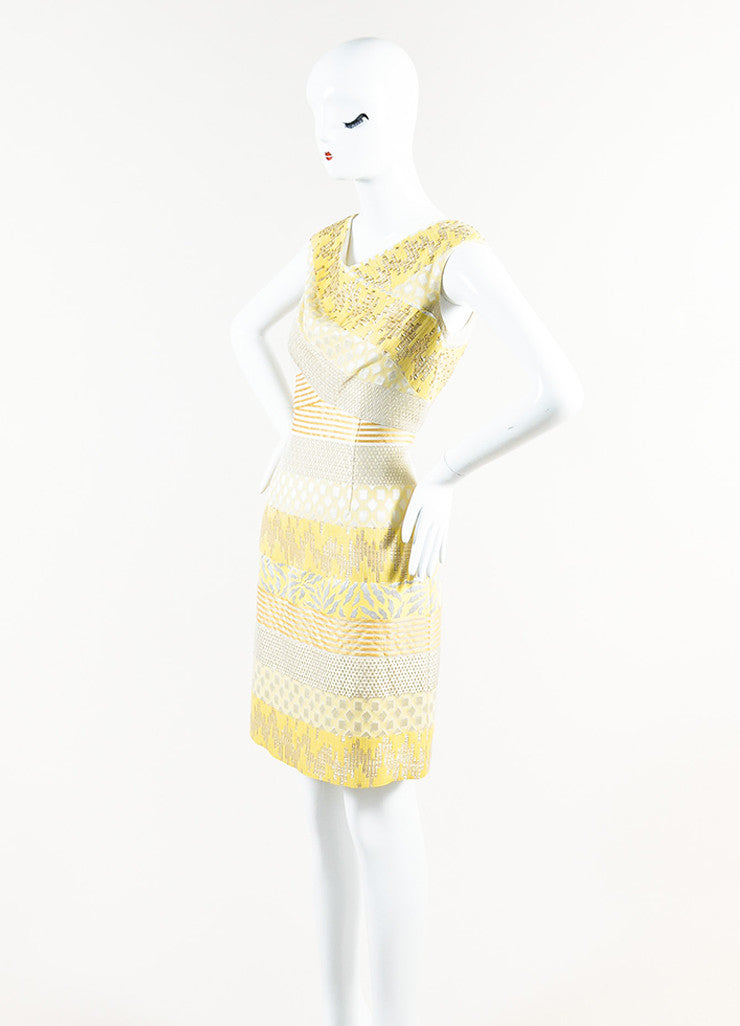 Kay Unger Yellow, Silver, and Gold Metallic Brocade Sleeveless Sheath Dress Sideview