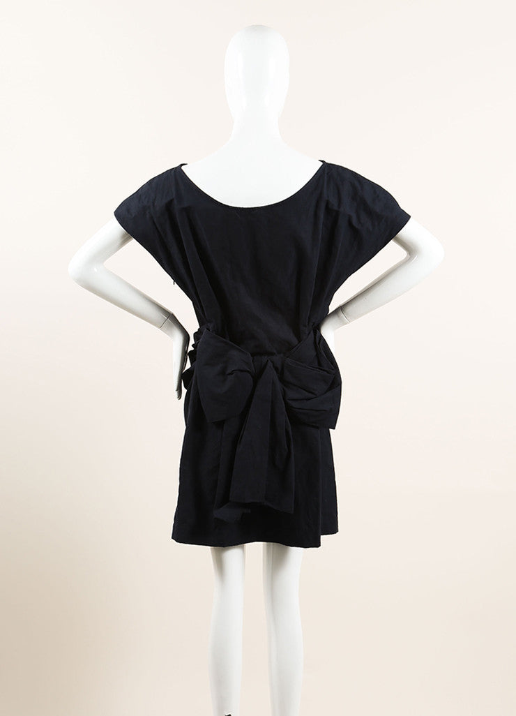Lanvin Navy Blue Cotton Ruched Bow Back Short Sleeve Dress Backview