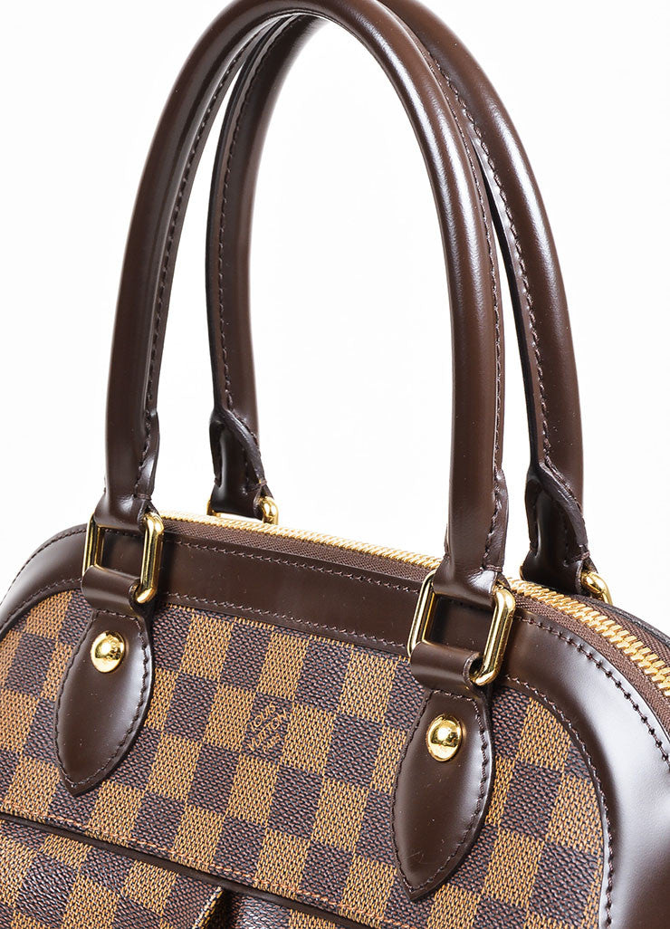 "Brown Louis Vuitton Coated Canvas and Leather ""Damier Trevi PM"" Satchel Bag Detail 3"