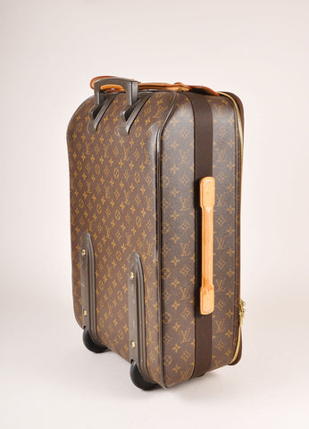 "Louis Vuitton Brown Monogram Canvas ""Pegase 55"" Rolling Luggage Suitcase Sideview"