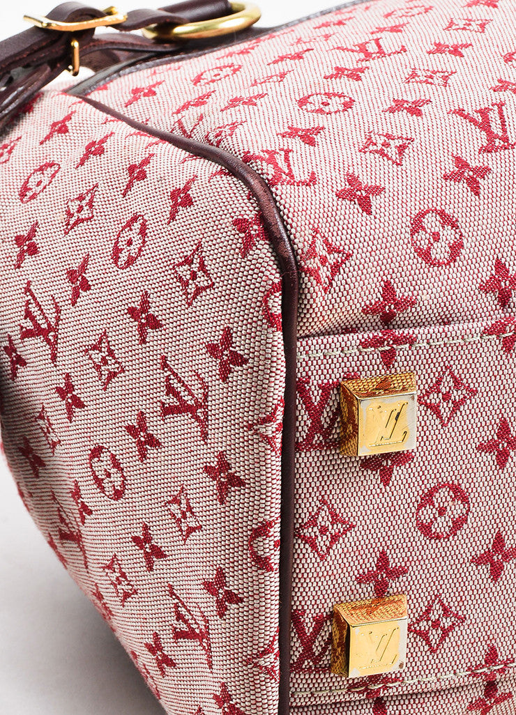"Louis Vuitton Deep Pink and Brown Monogram Mini Lin ""Josephine PM"" Satchel Bag Detail"