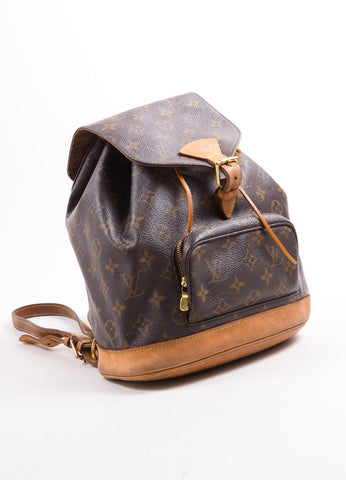 "Louis Vuitton Brown Monogram Canvas ""Montsouris MM"" Backpack Sideview"