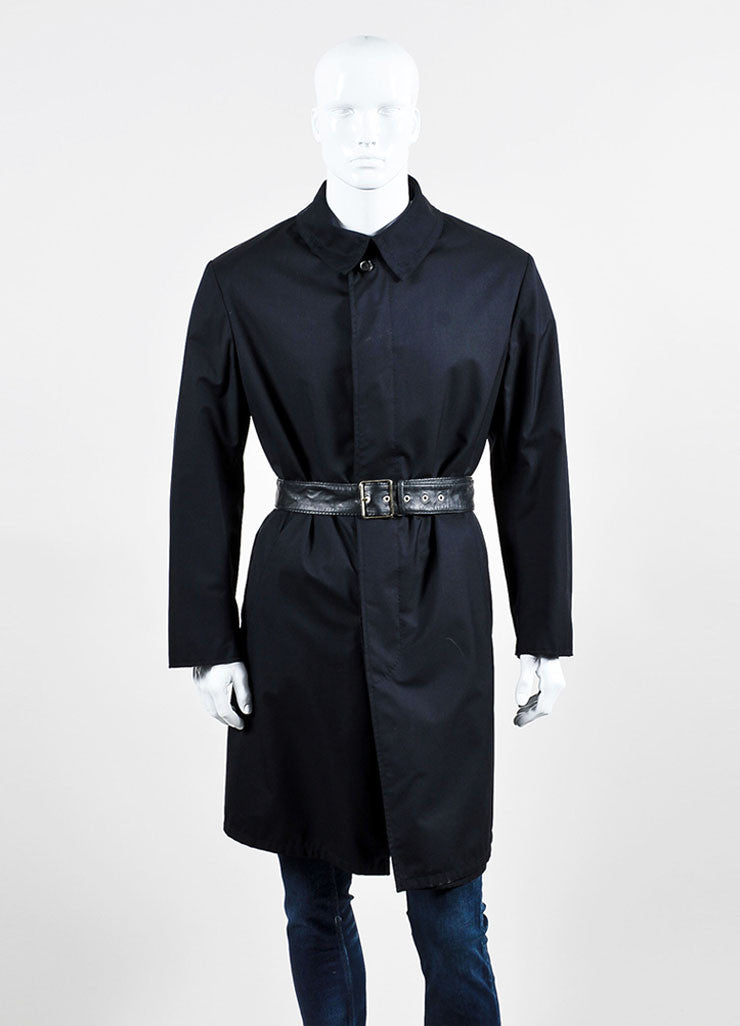 Men's Brioni Black and Navy Twill Wool Leather Reversible Belted Trench Coat Frontview 2