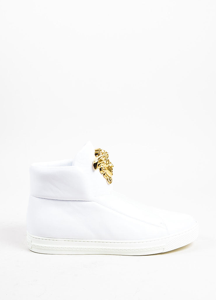 "MEN'S Versace White Leather Gold Tone Medusa ""Palazzo Idol"" Sneakers Side"