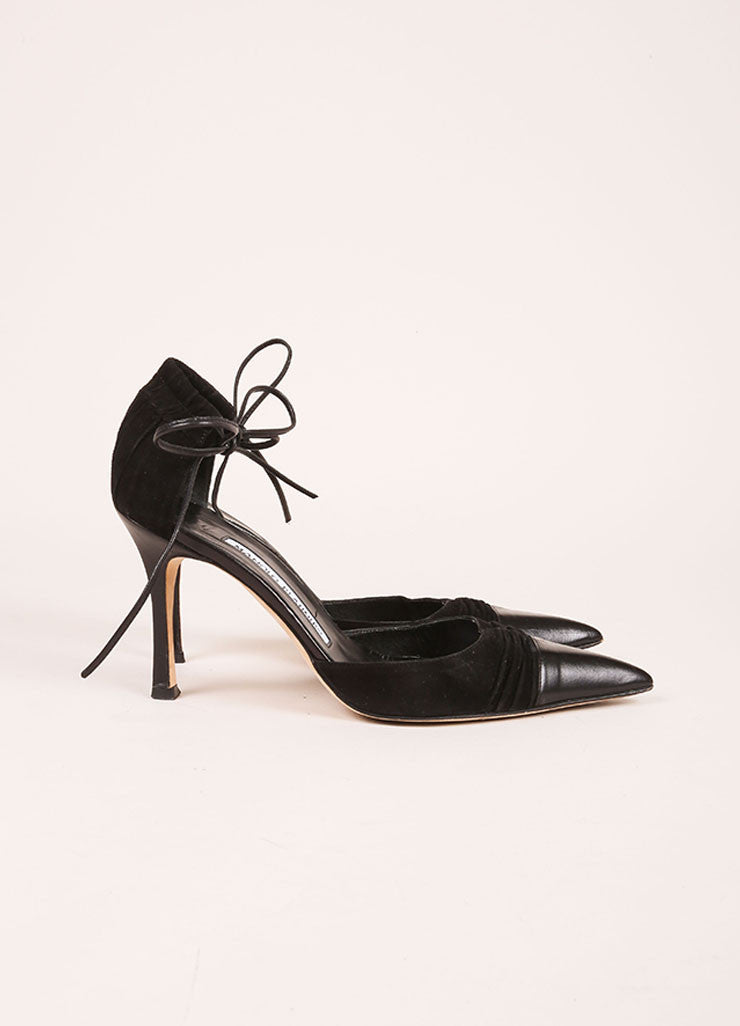 Manolo Blahnik Black Suede Leather Ruched Pointed Toe Ankle Tie Heels Sideview