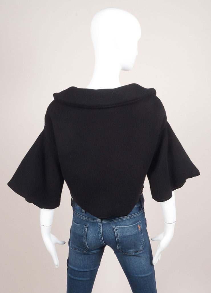 Marc Jacobs Black Cropped Wool and Cashmere Knit Buttoned Sweater Jacket Backview