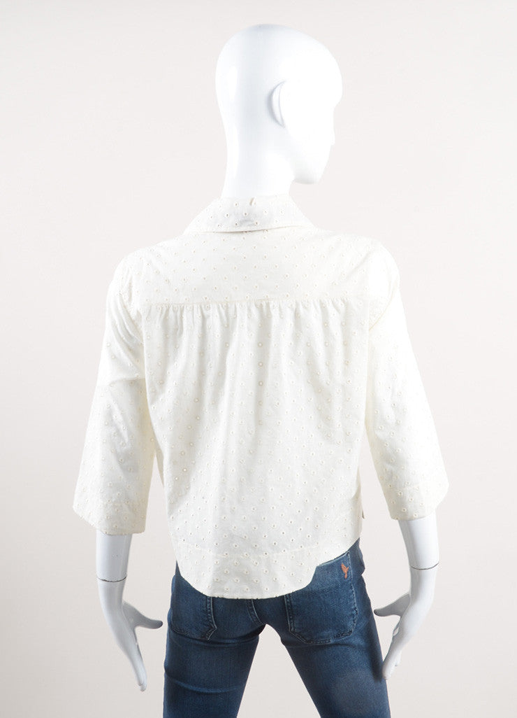 Marc Jacobs New With Tags Cream and Black Ribbon Tie Cropped Cotton Eyelet Blouse Backview