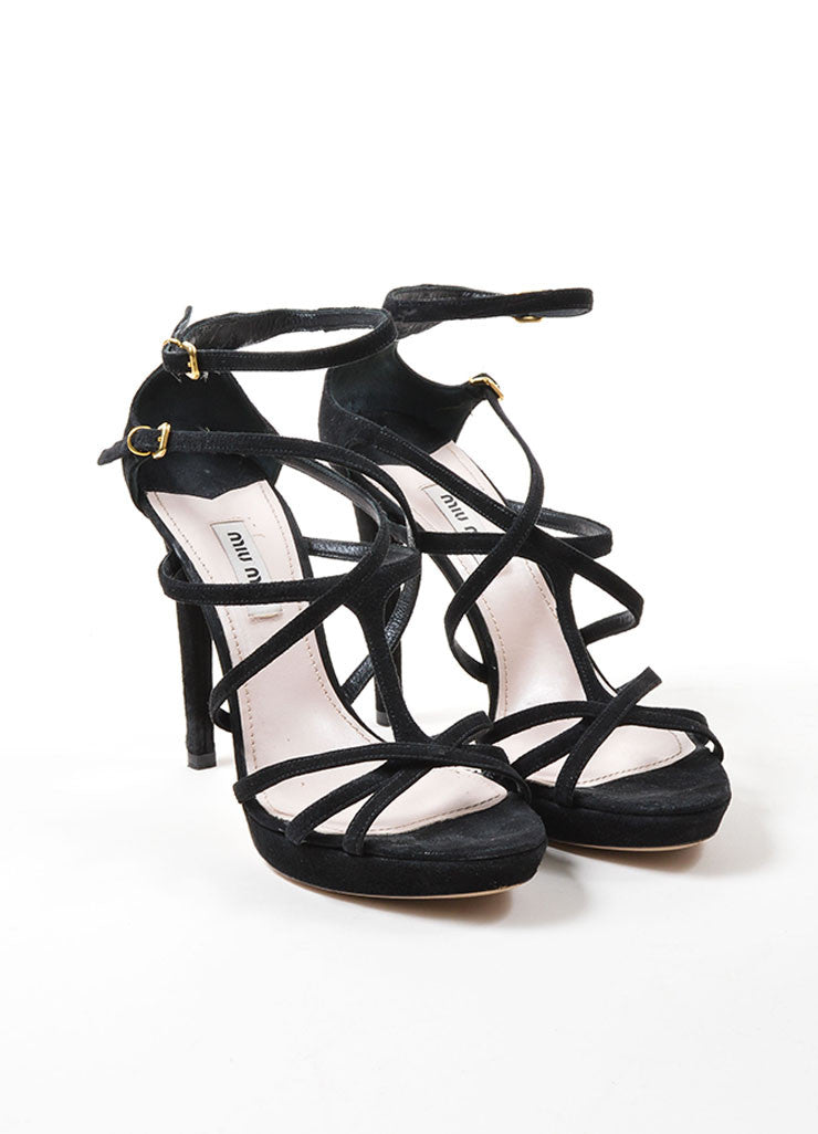 Black Miu Miu Suede Leather Strappy Heeled Sandals Frontview