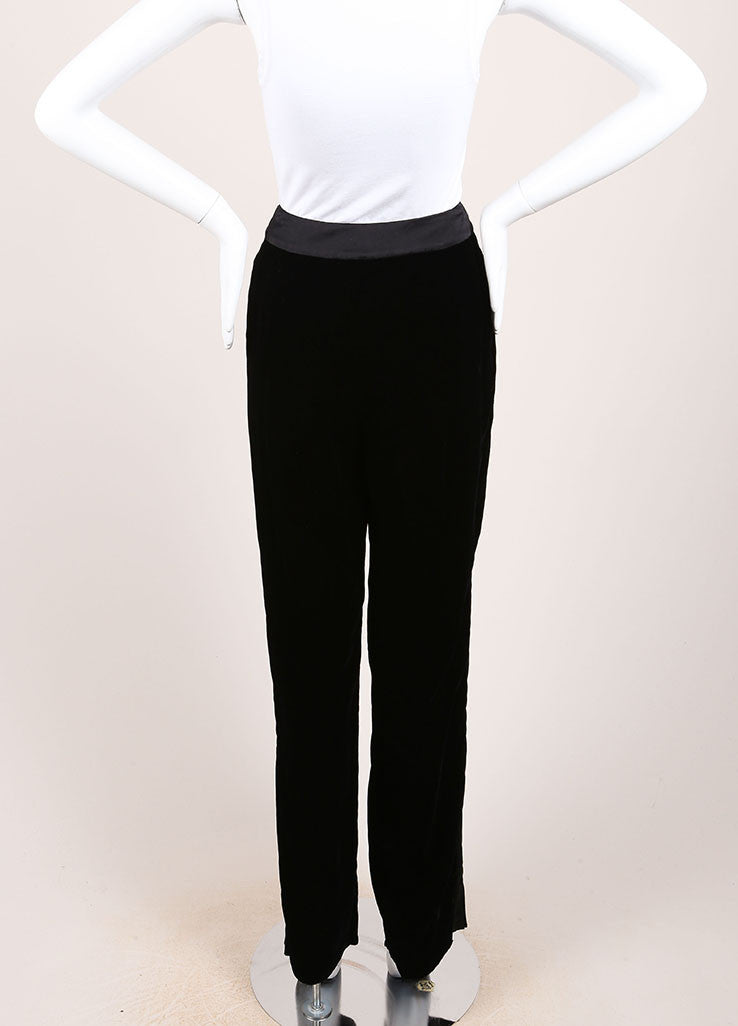 Oscar de la Renta New With Tags Black Velvet Tuxedo Pants Backview