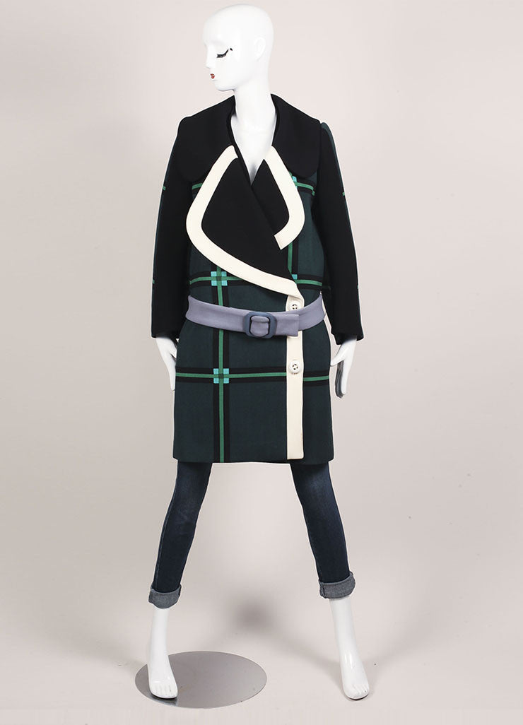 Prada Black, Cream, and Green Wool Oversized Check Belted Wrap Coat Frontview