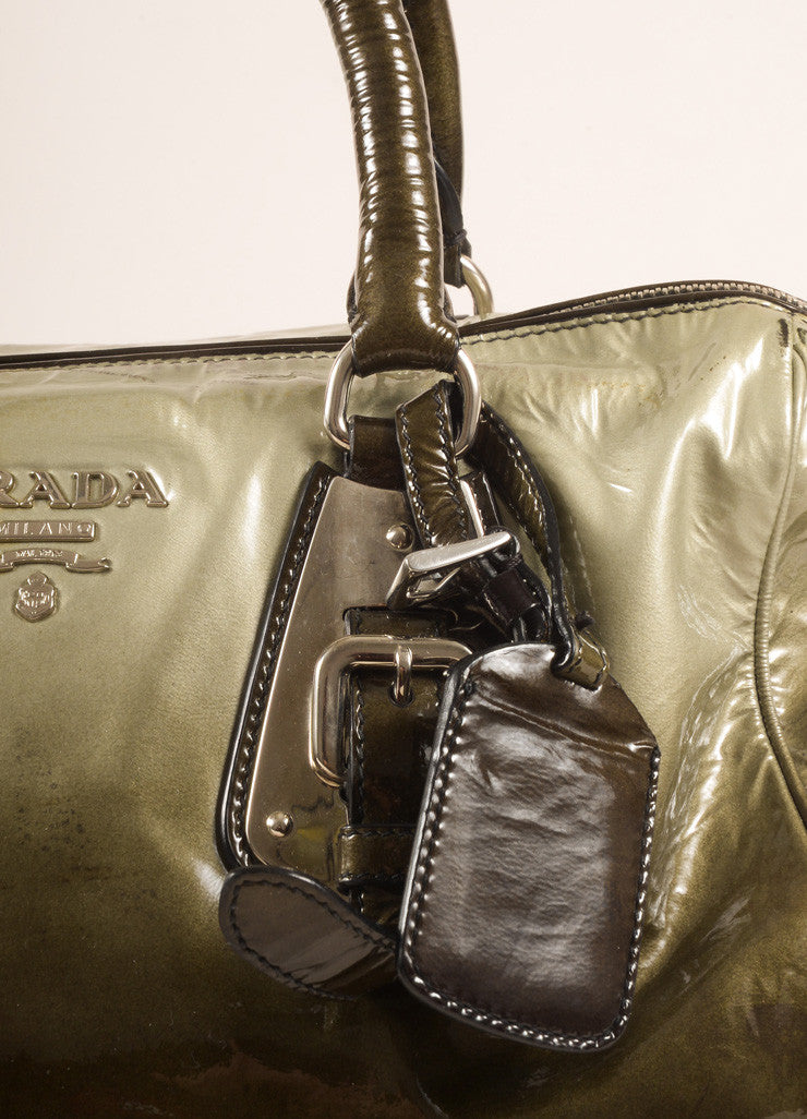 Prada Dark Green and Black Ombre Patent Leather Satchel Bag Detail 2