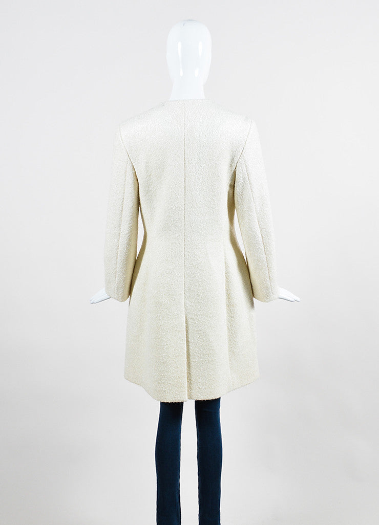 Cream Prada Metallic Woolen Long Sleeve Coat Backview
